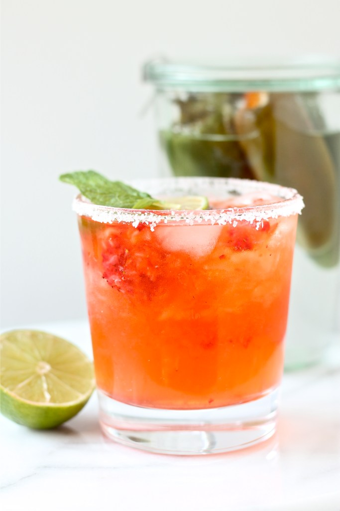 Strawberry Margaritas with Jalapeno Infused Tequila