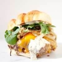 Beer Caramelized Onion Burgers with Tarragon Honey Mustard