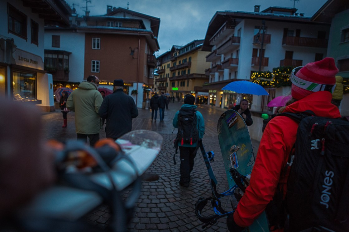 Liz Daley and Maria DeBari on another rainy night in Cortina, Italy