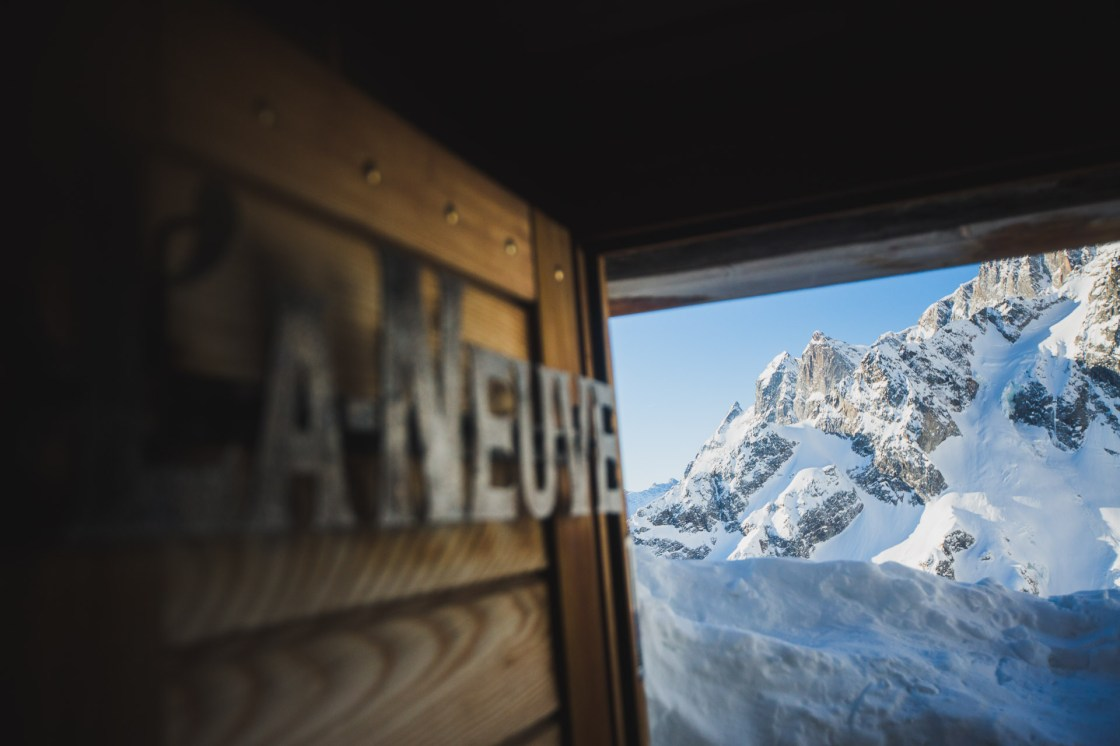 View out the door of the Cabane de l'A Neuve of the flanks of Mont Dolent. Swiss Alps.