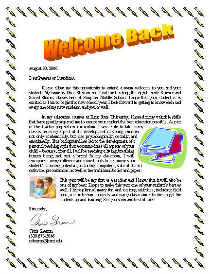 Learners - teacher welcome back letter