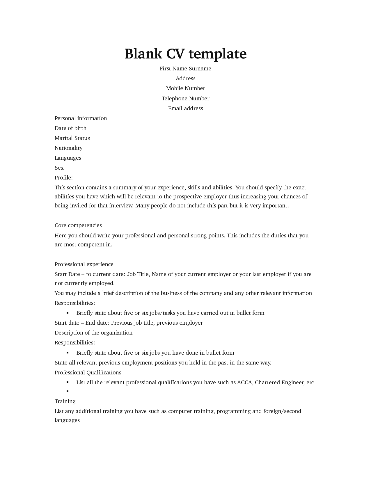 basic cv template download cv template to resume samples writing ...