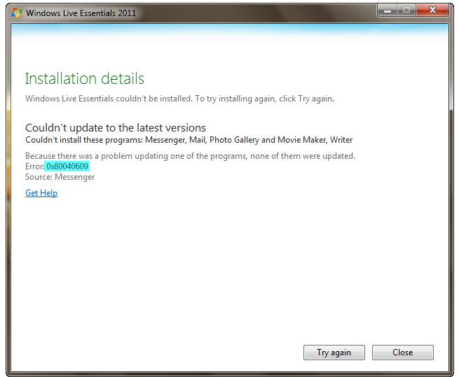 Steps To Repair 0X80040609 Error - Windows Live Essentials - windows repair install
