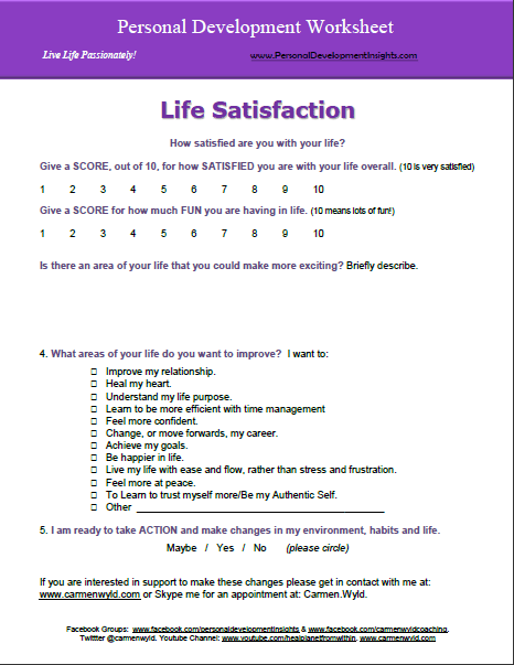 Worksheets Self Awareness Worksheets personal development worksheets free life satisfaction worksheet satisfaction