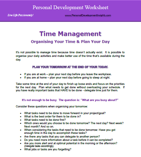 Personal time management worksheet leadership development and use this free personal development worksheet to evaluate and check in with how ibookread PDF