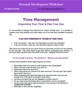 Personal Development Worksheet for Time Management