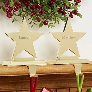 Personalized Stocking Holders Engraved Brass Star