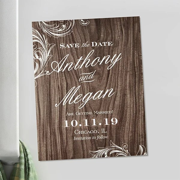 Personalized Wedding Save The Date Magnets - Wood Carving - Wedding