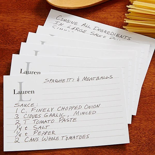 Personalized Recipe Cards - 4x6 - Classic Monogram - For The Home