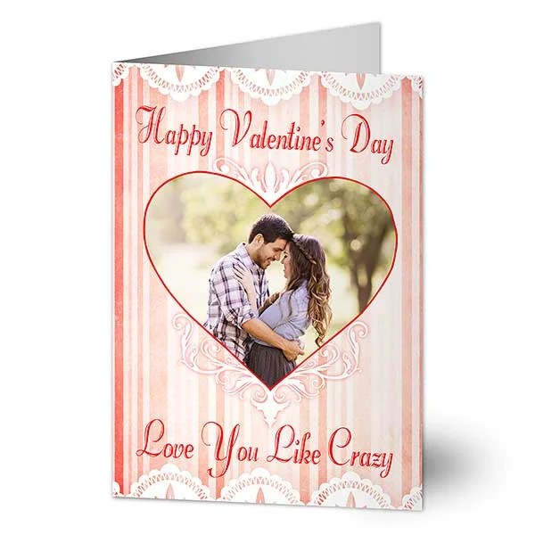 Personalized Photo Valentine\u0027s Day Cards - Vintage Heart