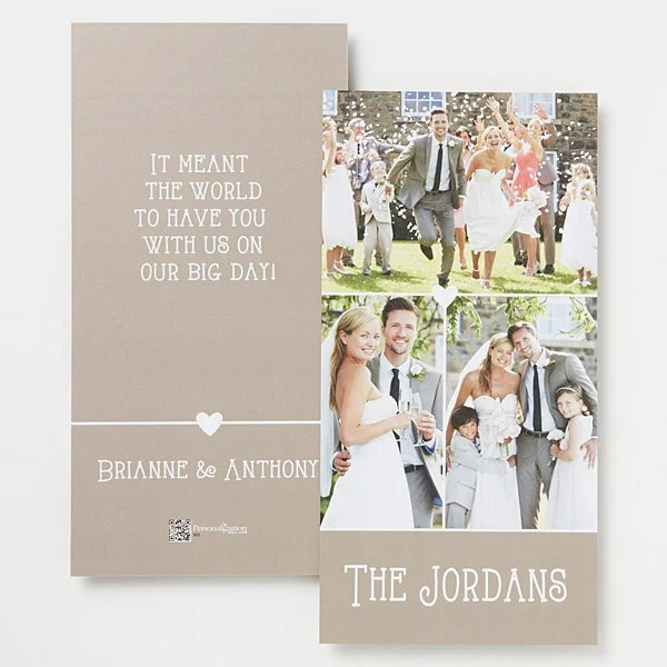 Personalized 3 Photo Wedding Thank You Cards - Marriage Is A