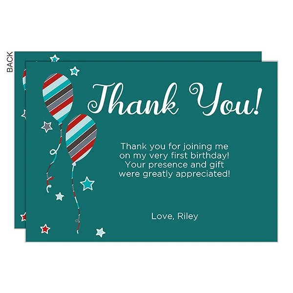 Personalized Thank You Cards - Birthday Boy