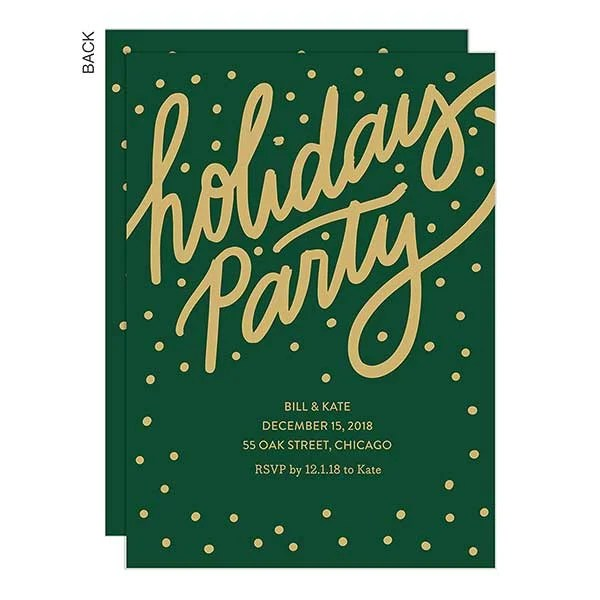 Gilded Green Holiday Party Invitation - Holiday Stationery