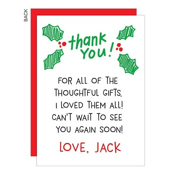 Handwritten Personalized Holiday Thank You Cards