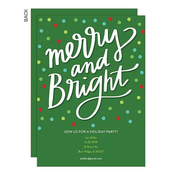 Merry  Bright Premium Holiday Party Invitation - Holiday Stationery