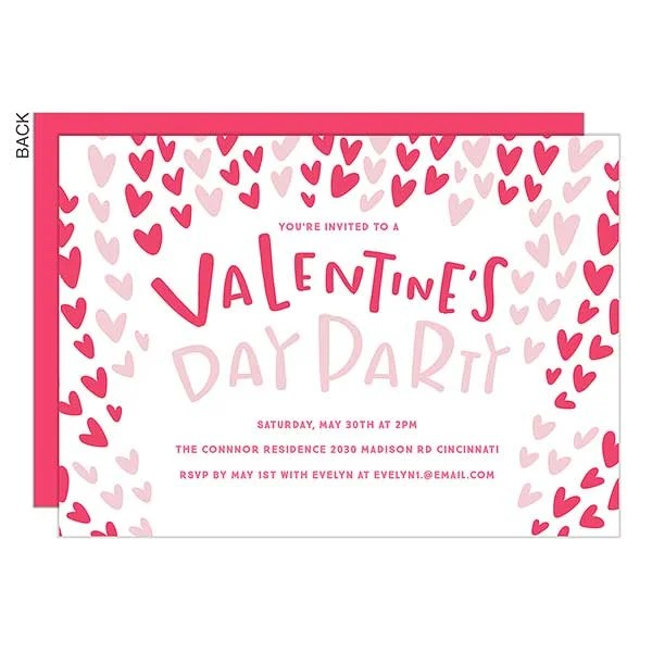 Hearts Valentine\u0027s Day Party Invitation - Party Gifts