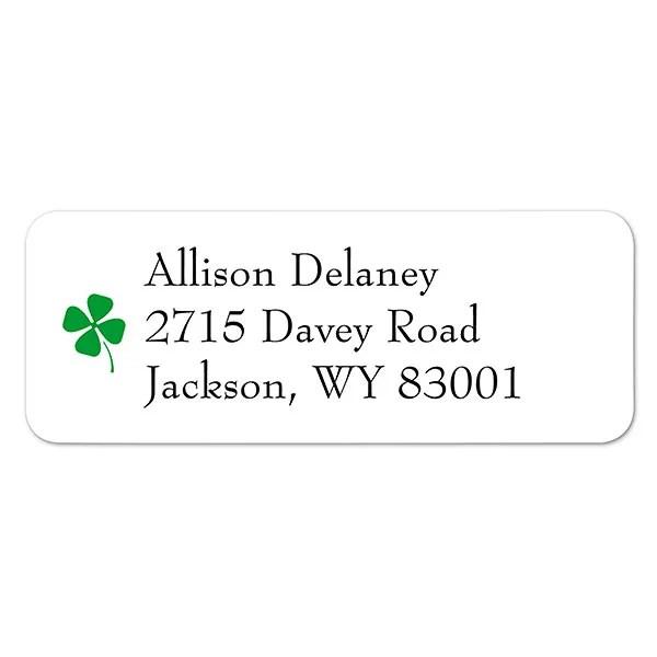Four-Leaf Clover Personalized Return Address Labels