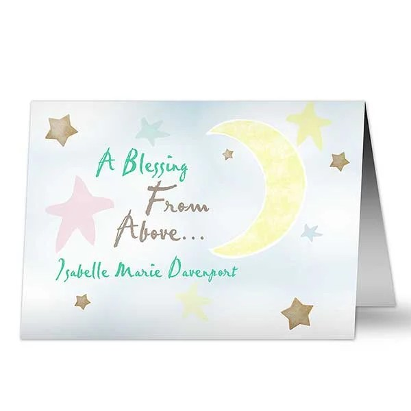 Personalized New Baby Greeting Cards - Blessing From Above