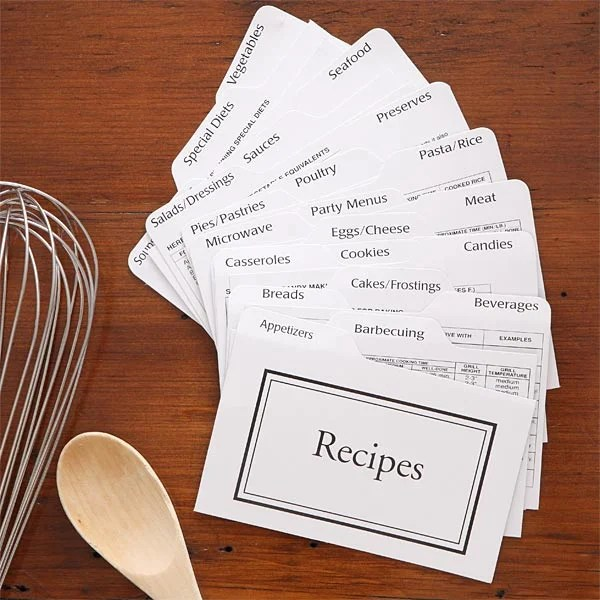 Recipe Card Box Divider Set - 4x6 - For The Home