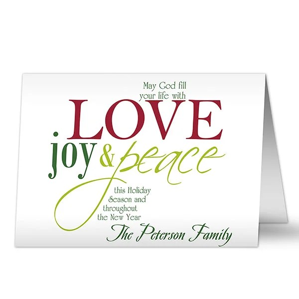 Words Of Christmas Personalized Christmas Cards  Envelopes