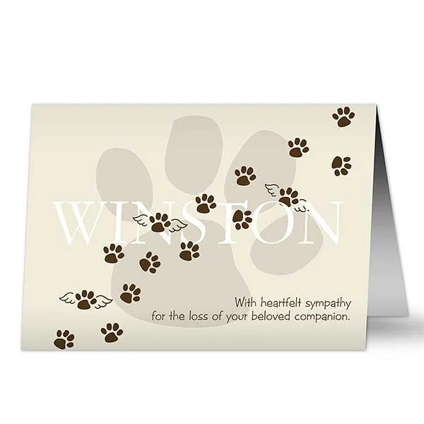 Personalized Pet Memorial Sympathy Card - Pawprints To Heaven