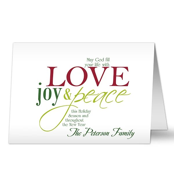 Words of Christmas Personalized Greeting Cards