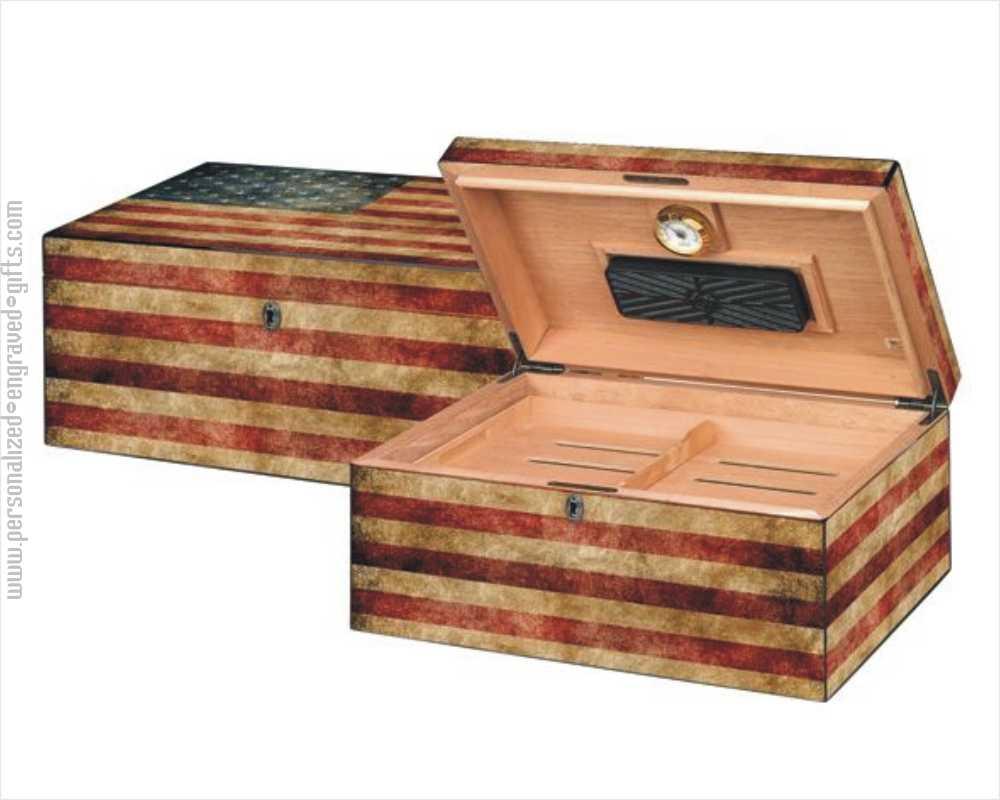 Personalized Old Glory Spanish Cedar Humidor