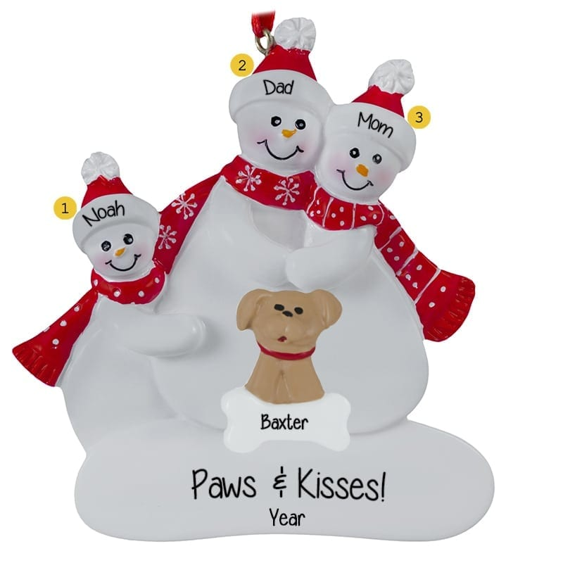 Personalized Snow Family Of 3 With DOG Red Scarves