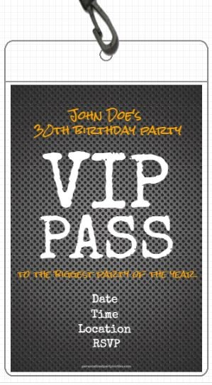 Metal Grid VIP Pass Invitation with Lanyard Personalized Party Invites