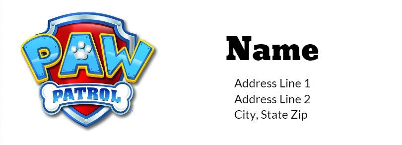 Paw Patrol Return Address Labels Personalized Party Invites - Address Label