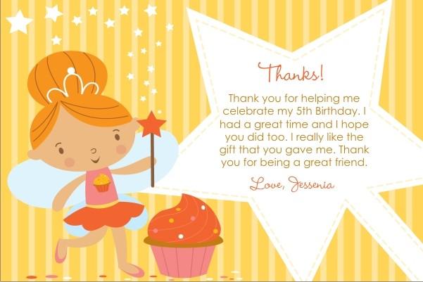 Cupcake Fairy Princess Thank You Card Yellow