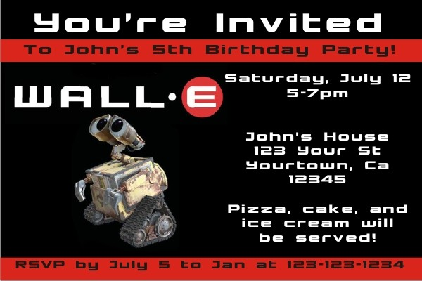 Wall-E Invitations Personalized Party Invites - birthday e invites