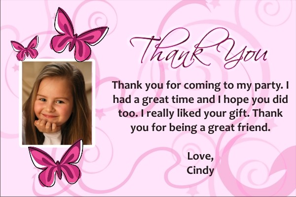 Butterfly Photo Thank You Cards Personalized Party Invites - butterfly thank you cards