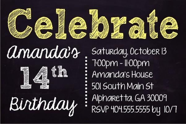 Celebrate Chalkboard Style Birthday Invitation - Custom Colors
