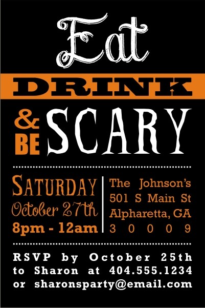 Eat Drink and Be Scary Halloween Party Invitation Personalized Party