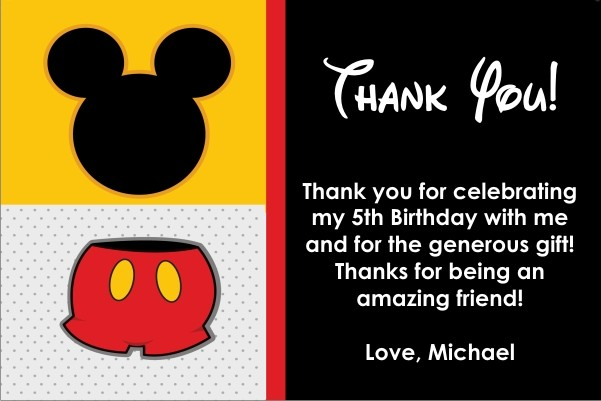 Mouse Thank You Card Similar To Mickey Mouse