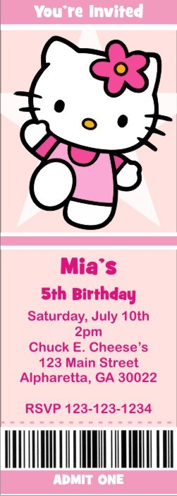 Hello Kitty Ticket Style Invitations (slim style) Personalized Party