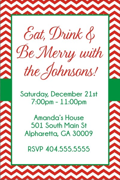 Chevron Christmas Holiday Party Invitation Personalized Party Invites