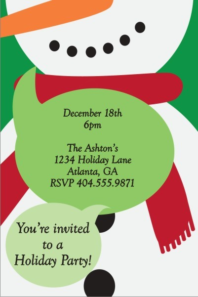 Festive Snowman Christmas Holiday Party Invitation Personalized