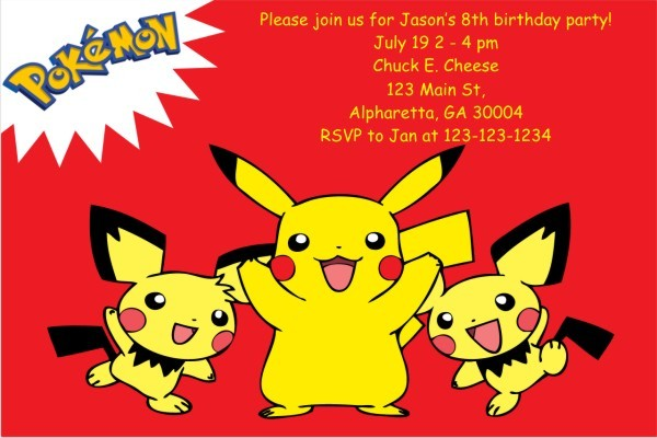 Pokemon Invitations - Pikachu Red Personalized Party Invites
