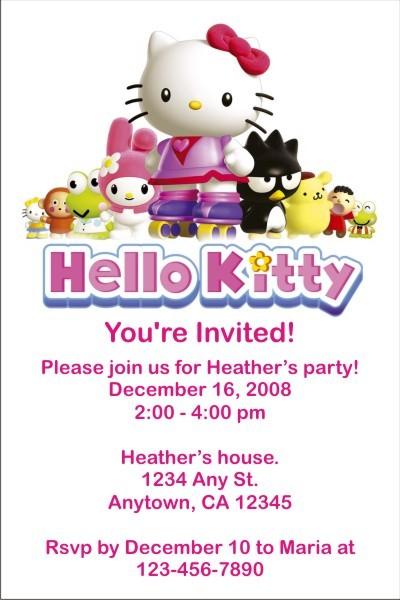 Hello Kitty Invitations Personalized Party Invites