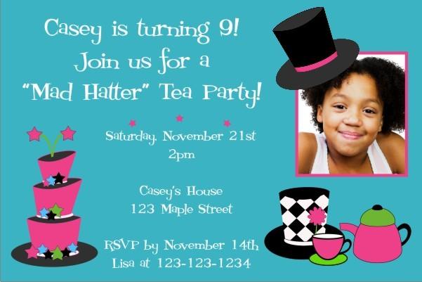 Mad Hatter Tea Party Photo Invitation Personalized Party Invites - tea party invitation