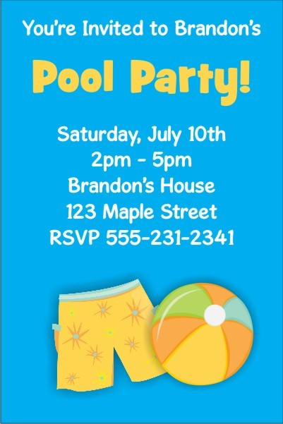 Pool Party Invitations 7 - Boy Pool Party Personalized Party Invites