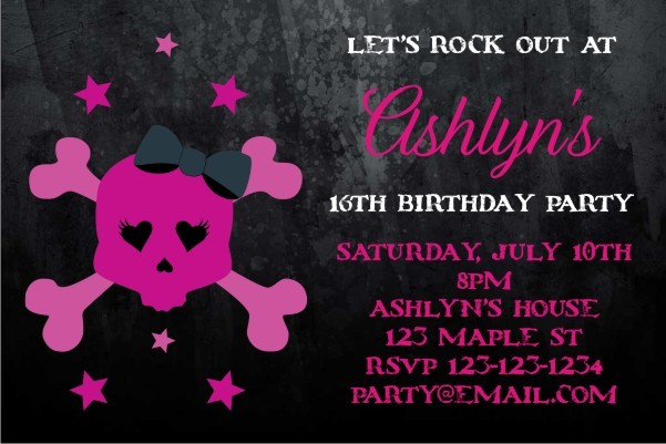 Pink Skull Grunge Gothic Emo Punk Invitation Personalized Party Invites