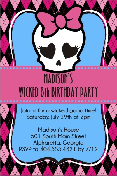Monster High Inspired Girly Skull Invitation Personalized Party Invites