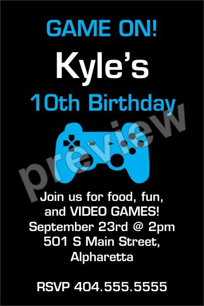 Game On! Video Game Invitation - Select Color Personalized Party Invites - video game template