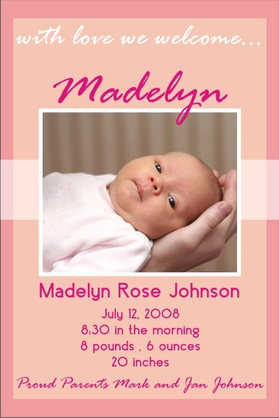 Newborn Baby Birth Announcement 2 (pink) Personalized Party Invites