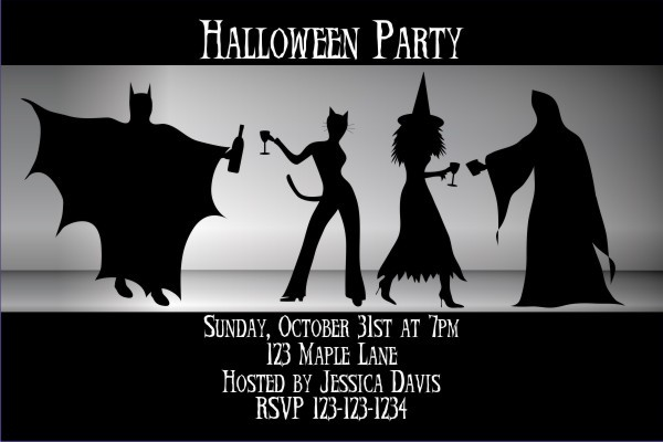 Adult Halloween Costume Party Invitation - Batman, Catwoman, Witch - invitation for halloween party