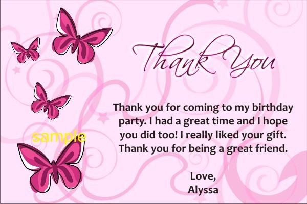 Butterfly Thank You Cards Personalized Party Invites - butterfly thank you cards