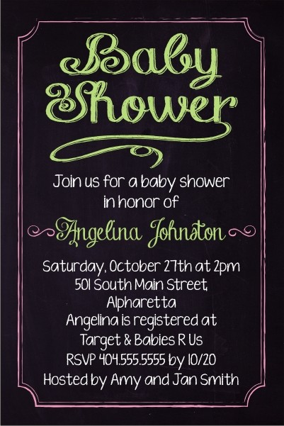 Baby Shower Chalkboard Style Invitation - Custom Colors Personalized
